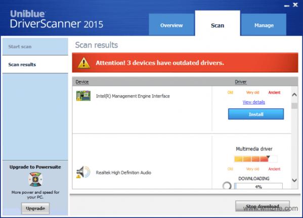 Uniblue DriverScanner软件截图