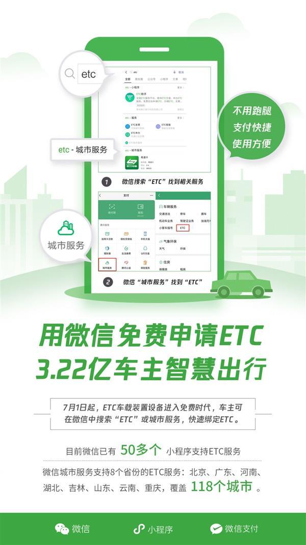 微信ETC服务已接入118城,足不出户,直接线上申办