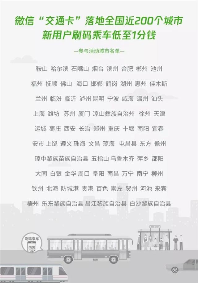 """微信新推出""""交通卡""""便民服务,覆盖200个城市地区"""