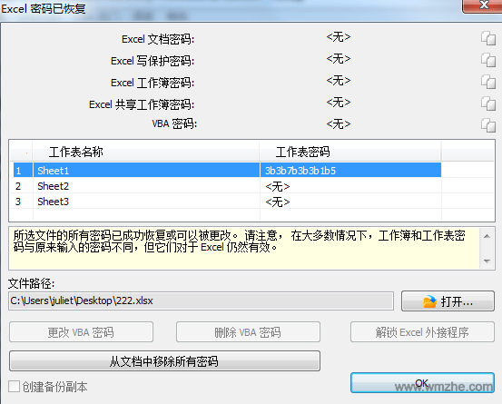 excel password recovery软件截图