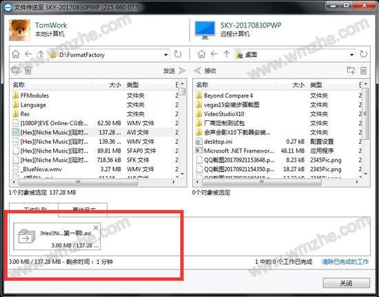 TeamViewer传输文件中