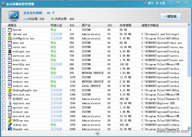金山毒霸进程管理器软件截图