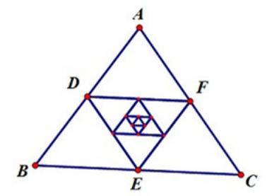 几何画板迭代功能使用教学,在三角形构造内接中点三角形