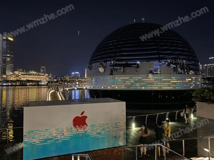 苹果新加坡水上店即将开业:外围围挡已经拆下