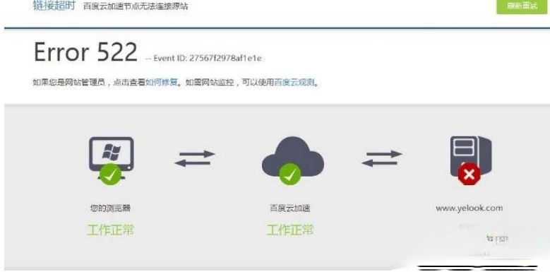 电脑上网打开网页出现Error 522错误如何解决