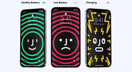▲ 从左到右依次是电量充足、电量低、充电中