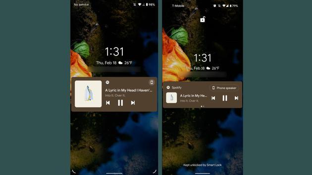 左:Android12 开发者预览版 1,右。Android 11